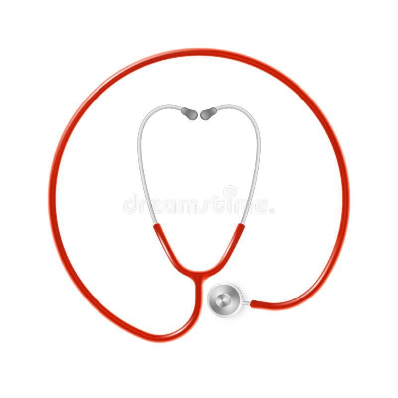 Concepto médico y de la atención sanitaria, el estetoscopio del doctor aislado en el fondo blanco EPS 10 stock de ilustración
