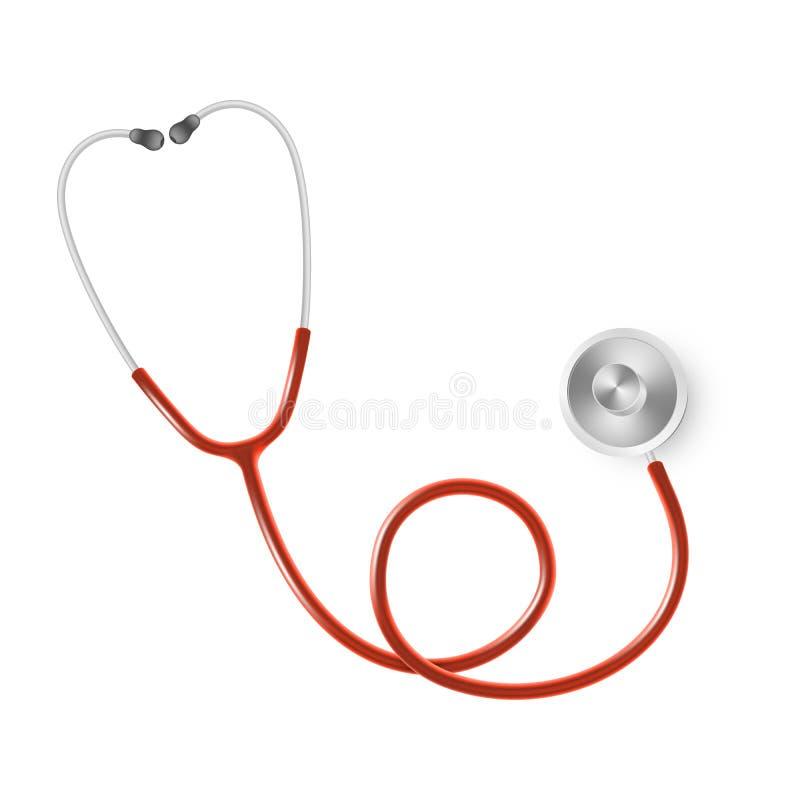 Concepto médico y de la atención sanitaria, estetoscopio del doctor s aislado en el fondo blanco EPS 10 stock de ilustración