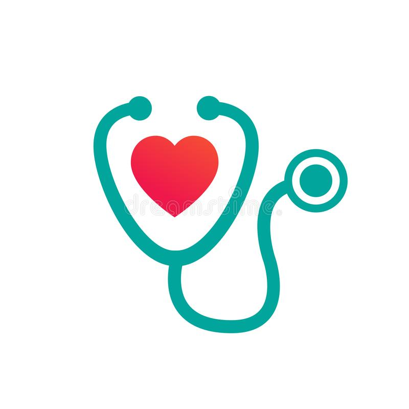 Concepto médico y de la atención sanitaria representado por el icono del estetoscopio y del corazón Ilustraci?n del vector aislad ilustración del vector