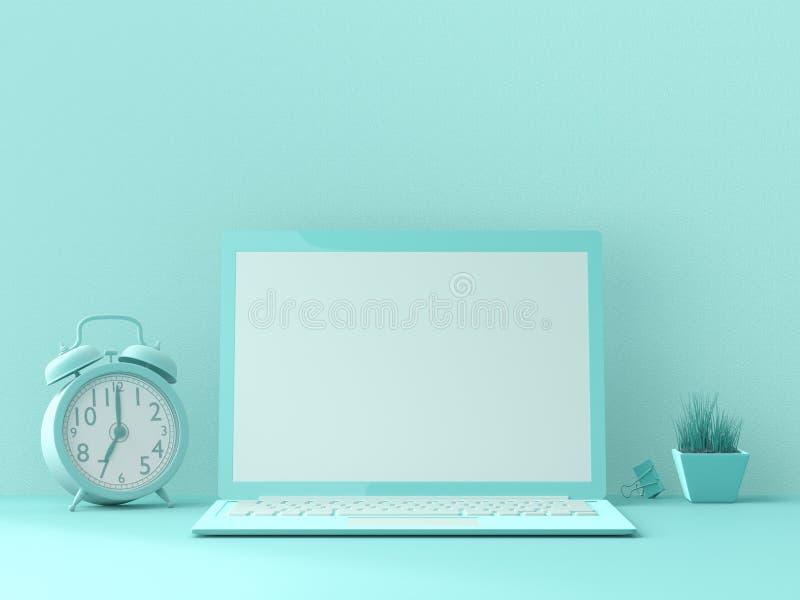 Concepto mínimo de la idea, maqueta del ordenador portátil stock de ilustración
