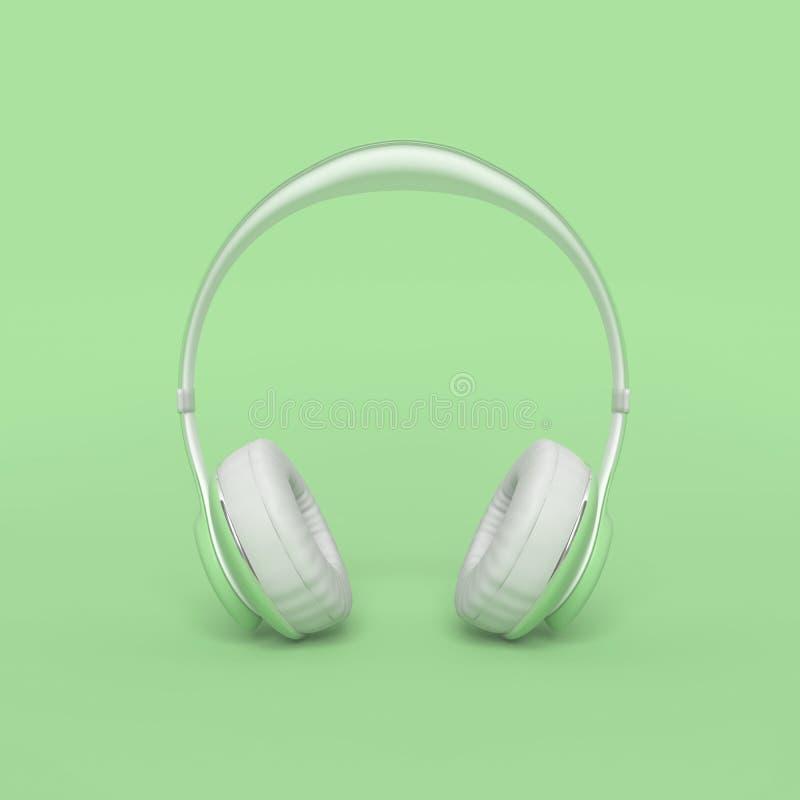Concepto mínimo y en colores pastel del color verde del auricular libre illustration