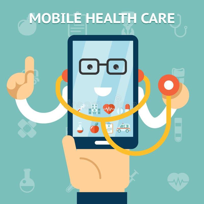 Concepto móvil de la atención sanitaria y de la medicina stock de ilustración