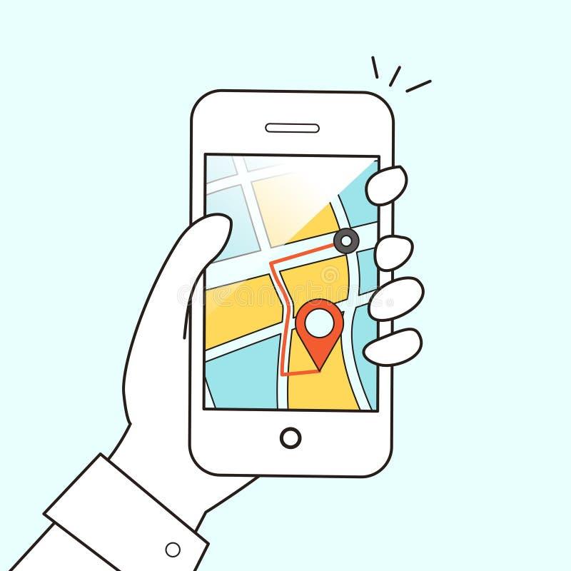 Concepto móvil de la navegación GPS ilustración del vector