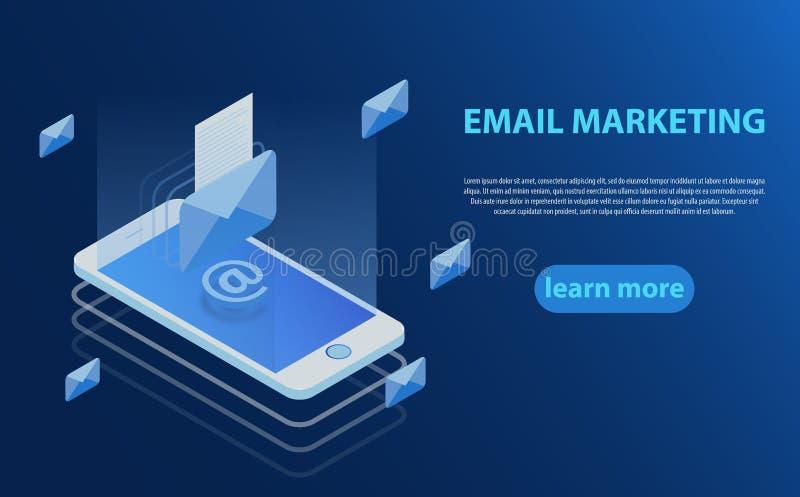 Concepto móvil de la notificación del email Comunicación, difusión de información, enviando el correo electrónico stock de ilustración