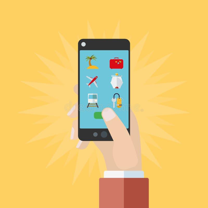 Concepto móvil de la reservación del viaje libre illustration