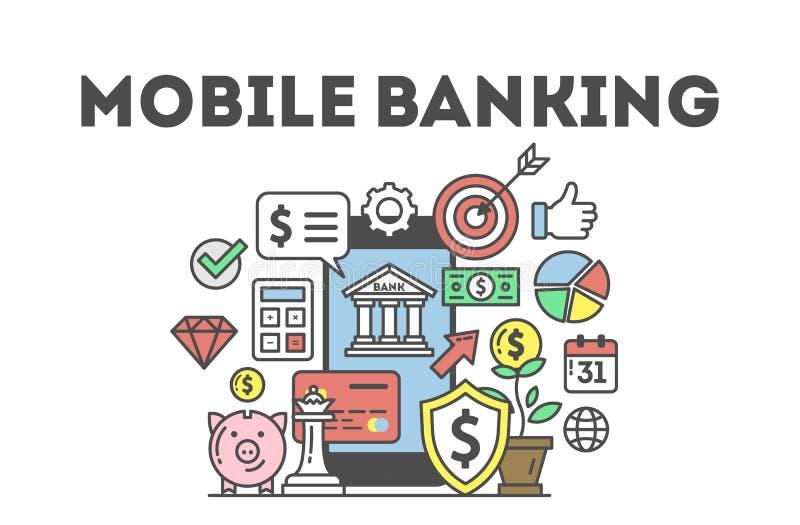 Concepto móvil de las actividades bancarias stock de ilustración