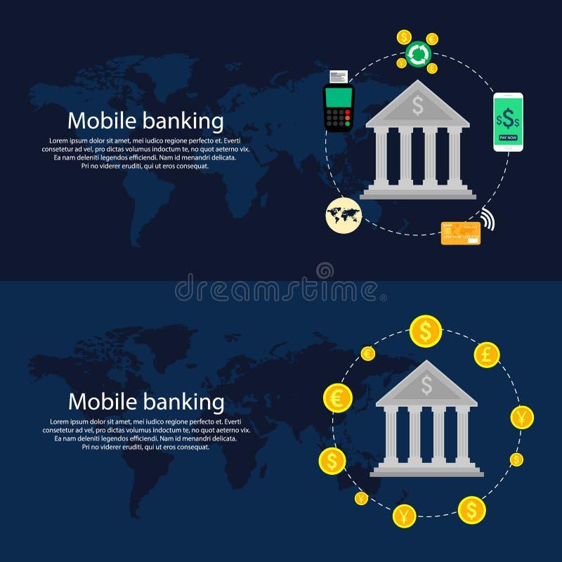 Concepto móvil de las actividades bancarias Diseño plano, ejemplo ilustración del vector