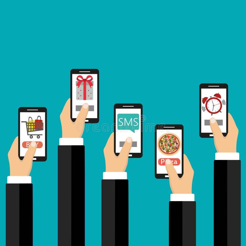 Concepto móvil de los apps Ejemplo plano del diseño Mano humana con los iconos del teléfono móvil y del interfaz libre illustration