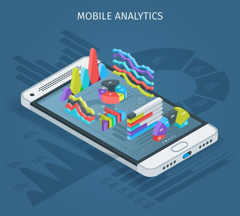 Concepto móvil del analytics ilustración del vector