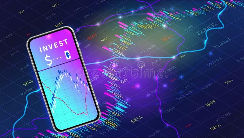 Concepto móvil del app del intercambio del mercado de acción Diseño comercial de la carta del gráfico de las divisas Tecnolog?a d stock de ilustración