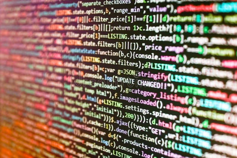 Concepto móvil del app Sistema creativo del primer de Js HTML5 en fondo Concepto del algoritmo del extracto de la fuente Programa foto de archivo libre de regalías