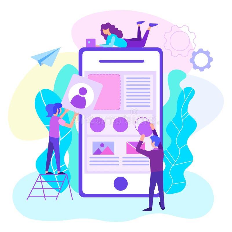 Concepto móvil del desarrollo del app de la web ilustración del vector