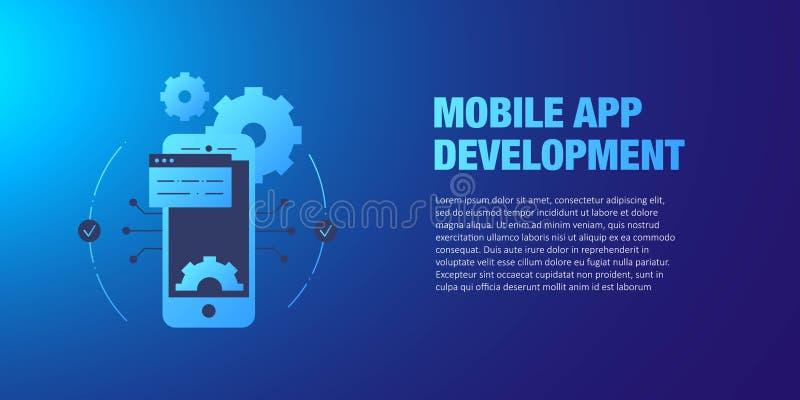 Concepto móvil del desarrollo del app Diseño de interfaz móvil, estilo plano de la tecnología del App stock de ilustración