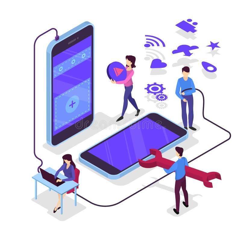 Concepto móvil del desarrollo del app Tecnología y smartphone modernos libre illustration