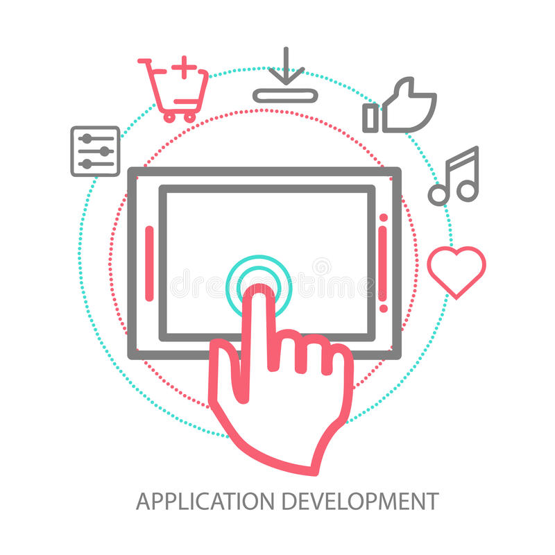 Concepto móvil del desarrollo del app del vector, línea libre illustration