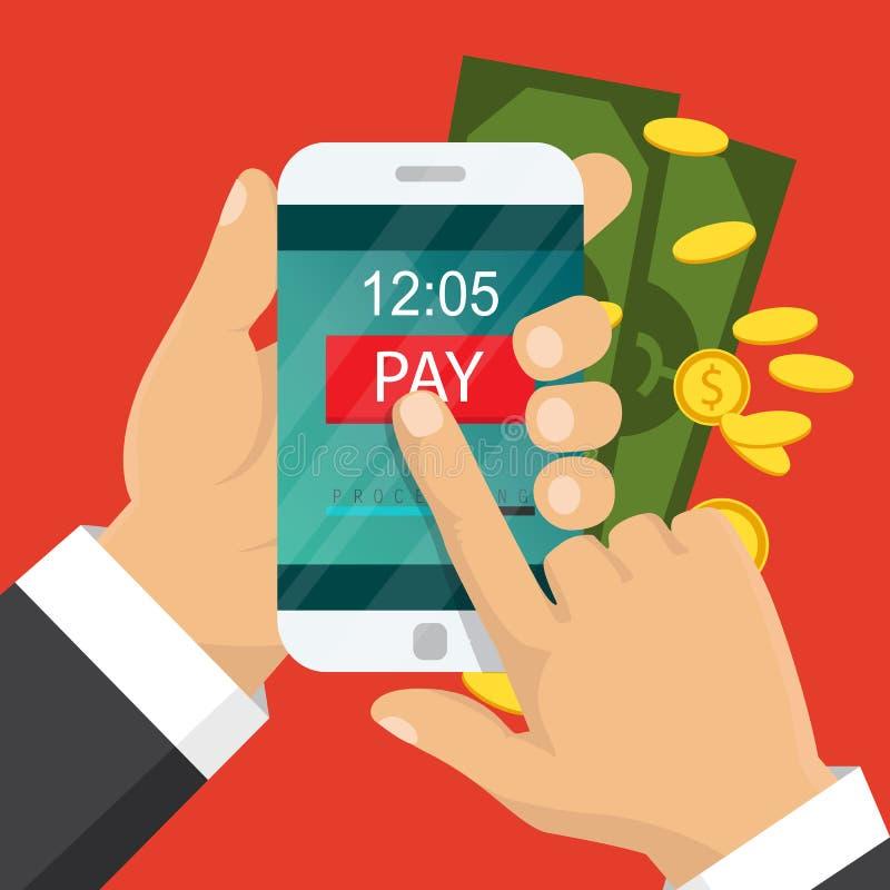 Concepto móvil del pago Dé sostener un teléfono Transferencia monetaria de la radio de Smartphone Diseño plano Ilustración del ve ilustración del vector
