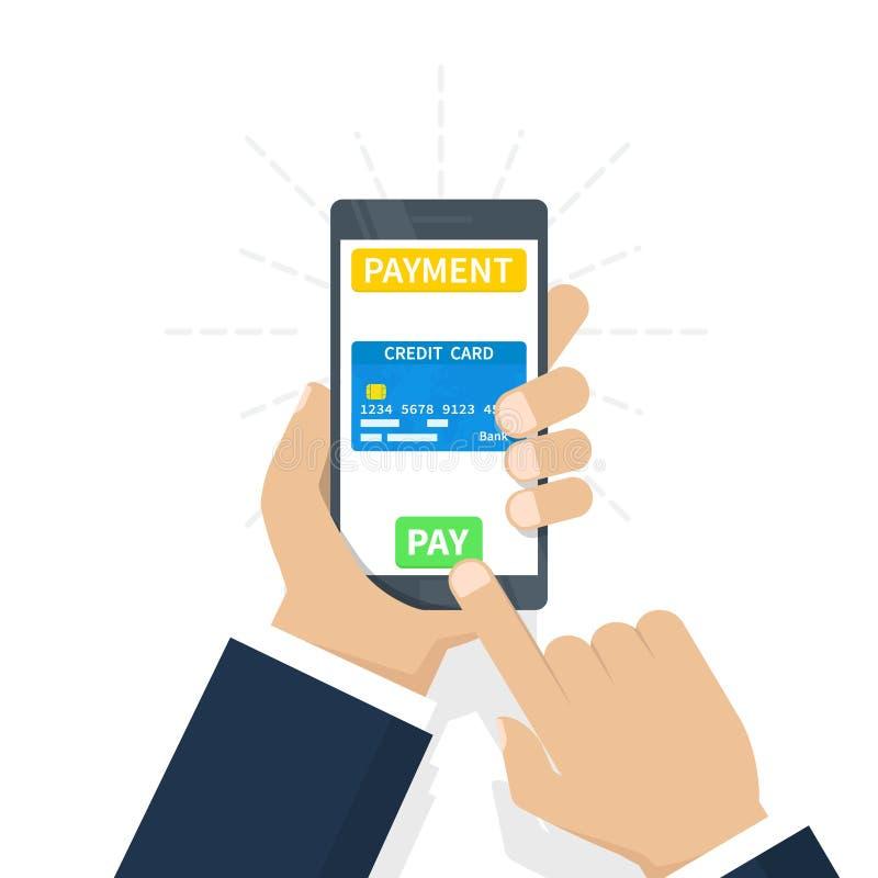 Concepto móvil del pago de la cartera de Digitaces - dé sostener el teléfono móvil con el icono de la tarjeta de crédito en la pa stock de ilustración