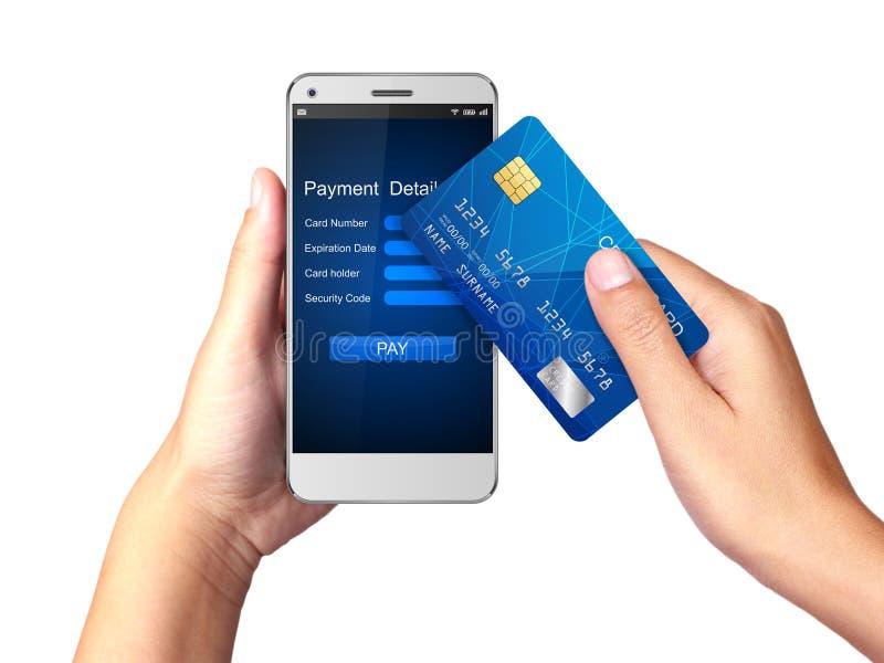 Concepto móvil del pago, mano que sostiene Smartphone con el proceso de pagos móviles de la tarjeta de crédito stock de ilustración