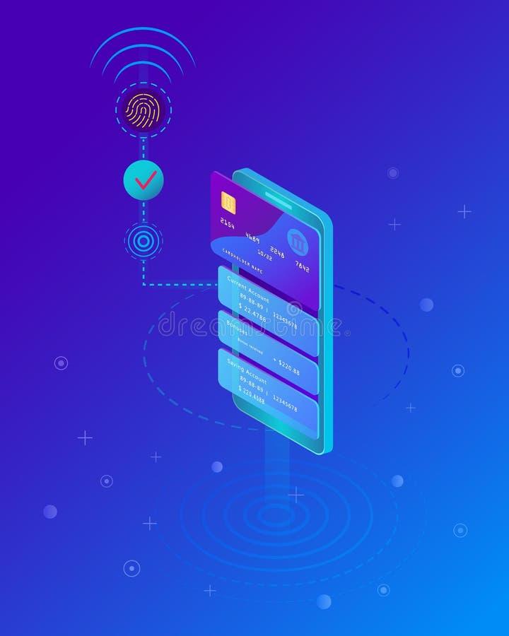 Concepto móvil del pago, Smartphone con el proceso de pagos móviles de la tarjeta de crédito ilustración del vector