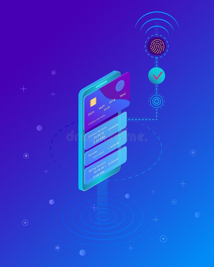 Concepto móvil del pago, Smartphone con el proceso de pagos móviles de la tarjeta de crédito Identificación de la huella dactilar libre illustration