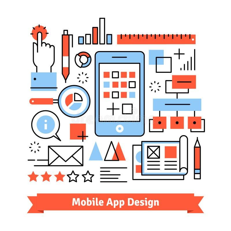 Concepto móvil del proceso de desarrollo del app stock de ilustración