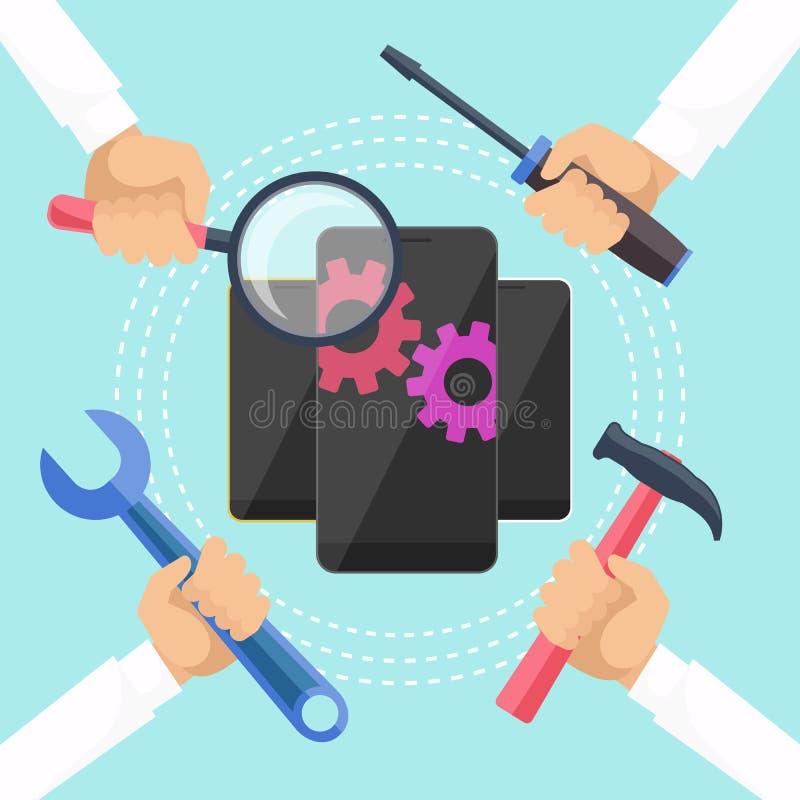 Concepto móvil del servicio ilustración del vector