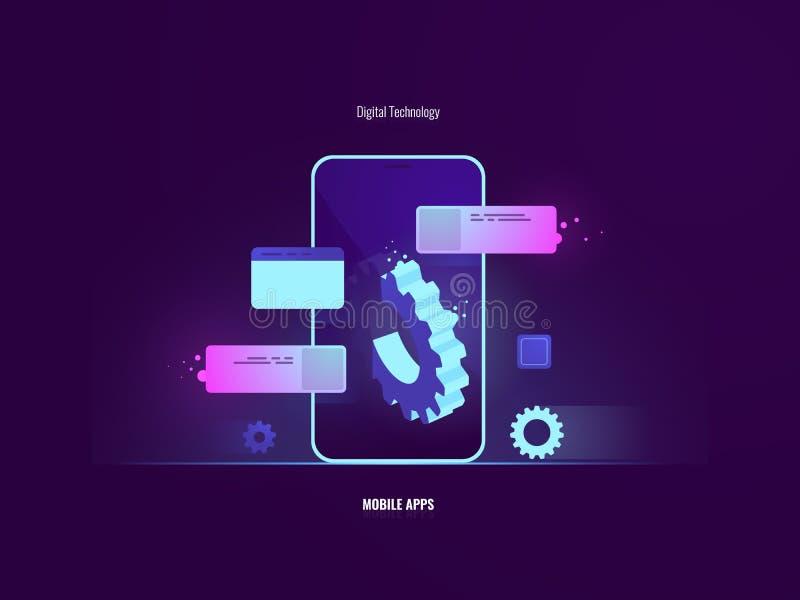 Concepto móvil impresionante del desarrollo de aplicación de software, teléfono móvil con el palillo de engranaje grande fuera de libre illustration