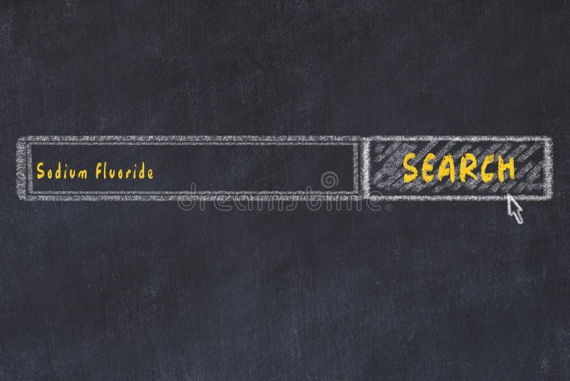 Concepto M?DICO Dibujo de tiza de una ventana del Search Engine que busca el fluoruro de sodio de la droga fotos de archivo