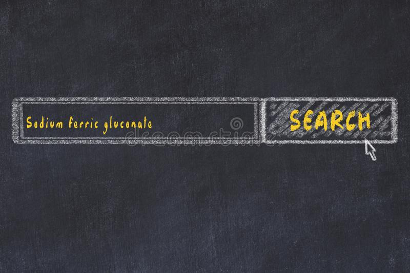 Concepto M?DICO Dibujo de tiza de una ventana del Search Engine que busca el gluconato férrico del sodio de la droga fotos de archivo libres de regalías