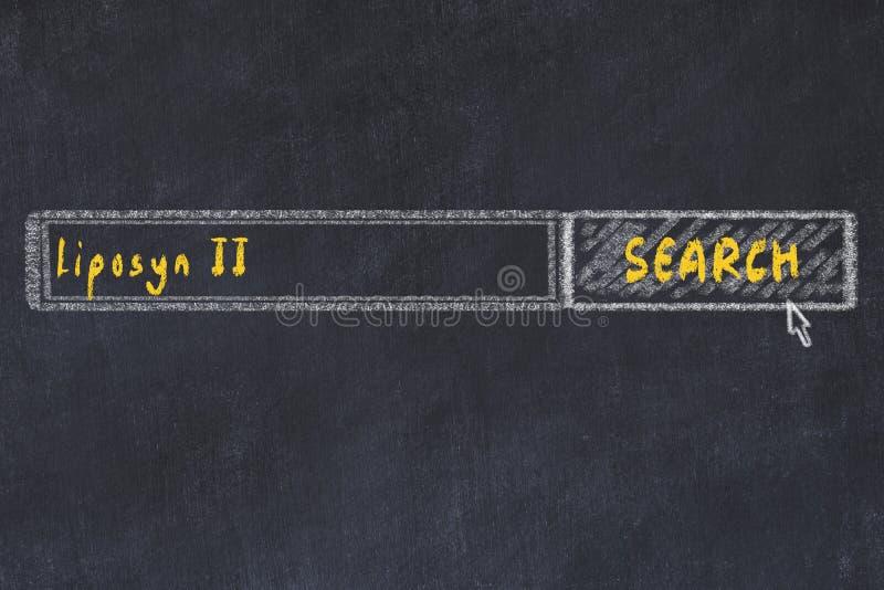 Concepto M?DICO Dibujo de tiza de una ventana del Search Engine que busca el liposyn ii de la droga fotos de archivo