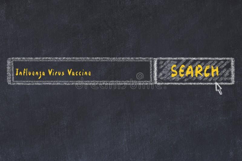 Concepto M?DICO Dibujo de tiza de una ventana del Search Engine que busca la vacuna del virus de gripe de la droga fotos de archivo libres de regalías