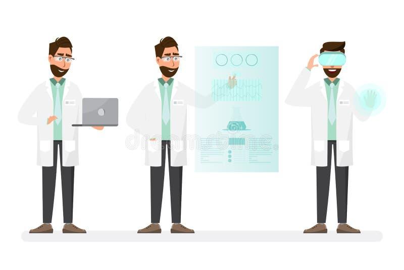 Concepto M?DICO Hombre de los científicos con tecnología en un laboratorio stock de ilustración
