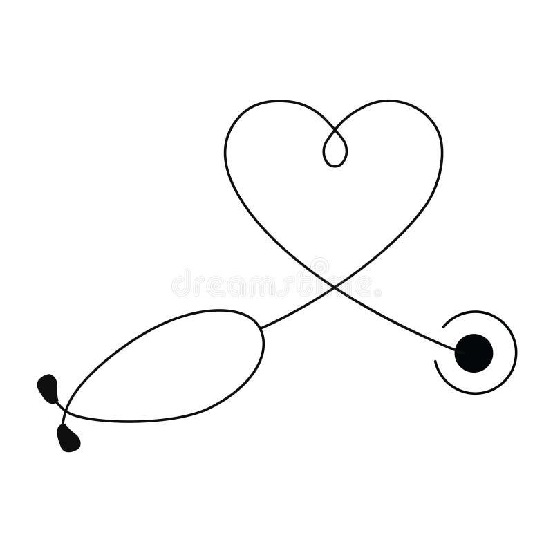 Concepto m?dico y de la atenci?n sanitaria, forma del coraz?n del estetoscopio stock de ilustración