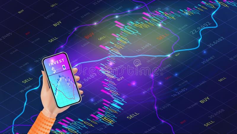 Concepto m?vil del app del intercambio del mercado de acci?n Dise?o comercial de la carta del gr?fico de las divisas Tecnolog?a d libre illustration