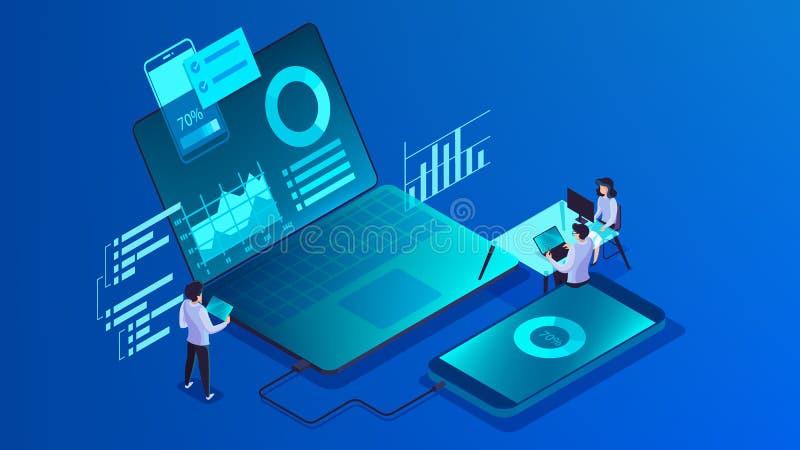 Concepto m?vil del desarrollo del app Illsutration moderno de la tecnolog?a ilustración del vector