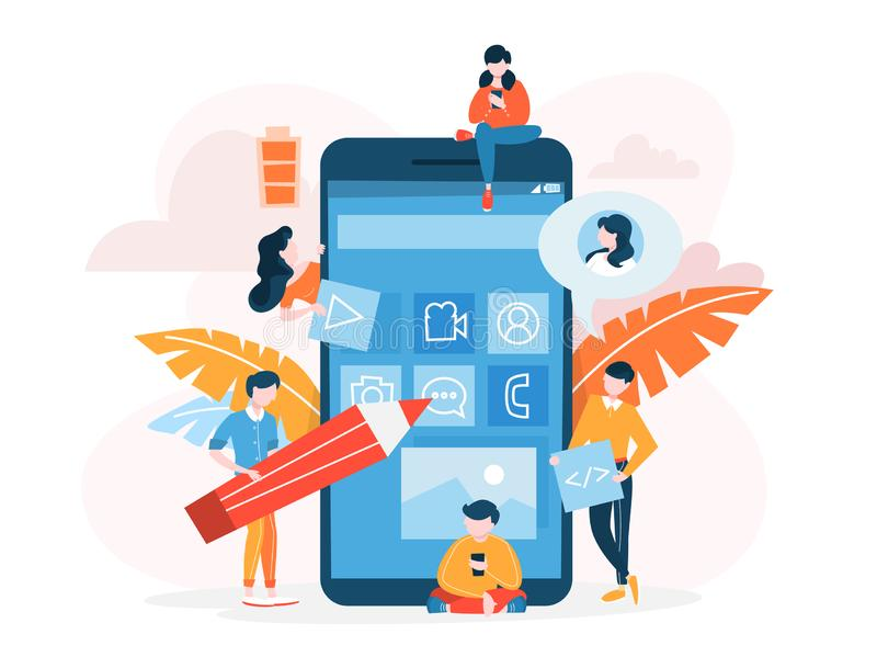 Concepto m?vil del desarrollo del app Illsutration moderno de la tecnolog?a libre illustration