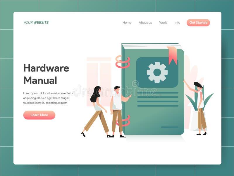 Concepto manual del ejemplo de libro del hardware Concepto de diseño moderno del diseño de la página web para la página web y la  ilustración del vector
