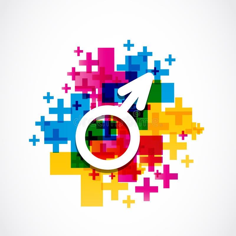 Concepto masculino colorido de la muestra del género stock de ilustración