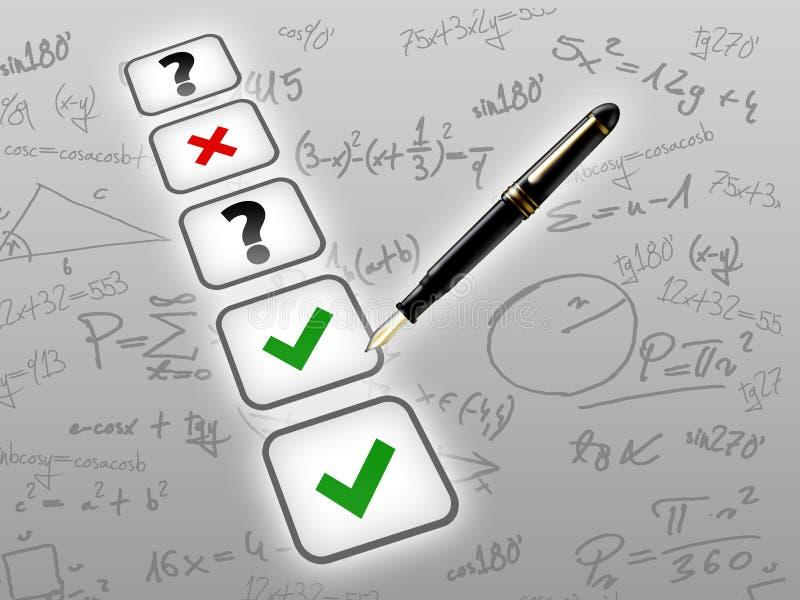 Concepto matemático del examen de la prueba stock de ilustración