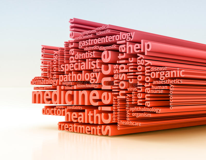 Concepto of medicine. Word cloud with terms about health and medicine 3d render royalty free illustration