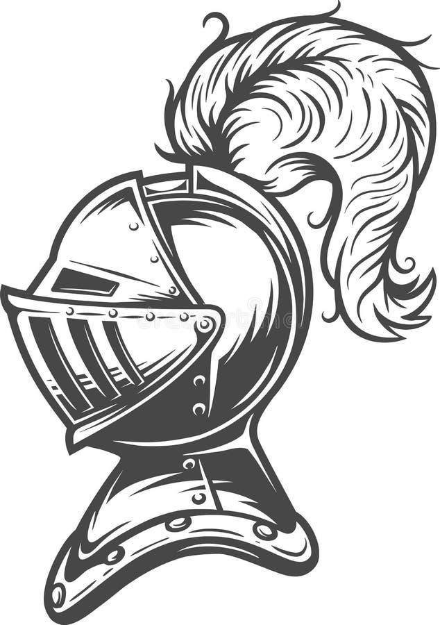 Concepto medieval del casco del caballero del vintage ilustración del vector