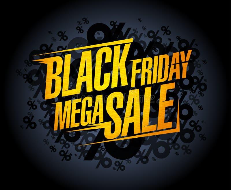 Concepto mega negro de la bandera de la venta de viernes ilustración del vector