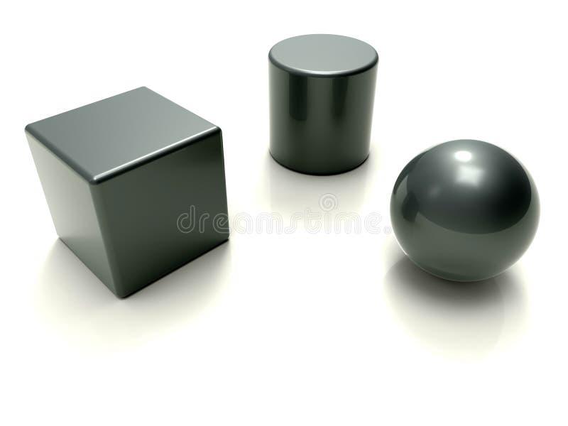 concepto metálico de la geometría básica 3D stock de ilustración