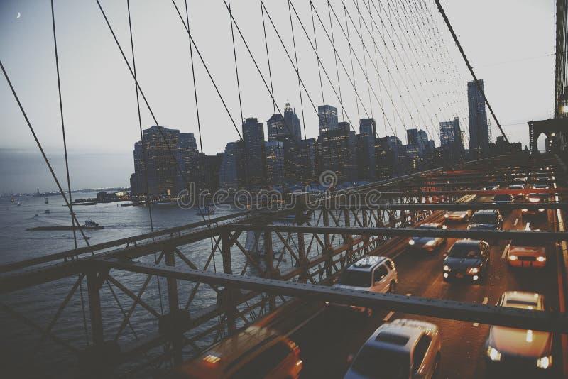 Concepto metropolitano urbano de New York City del puente de Brooklyn fotos de archivo