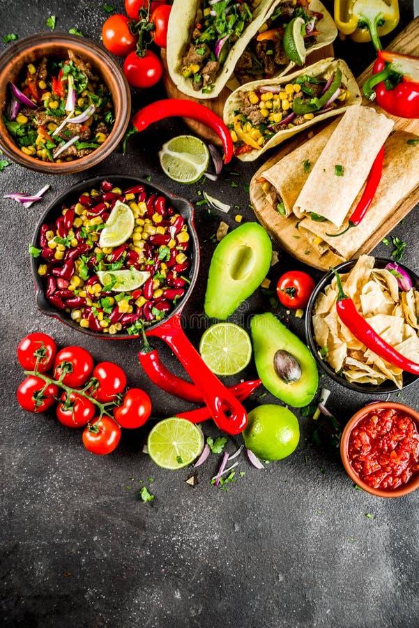Concepto mexicano de la comida Comida de Cinco de Mayo fotografía de archivo