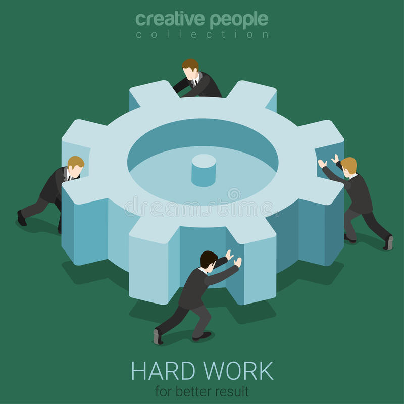 Concepto micro de la rueda dentada de la vuelta de la gente del trabajo duro libre illustration