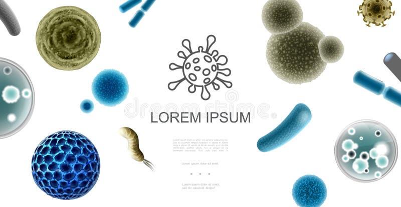 Concepto microscópico realista de los organismos libre illustration
