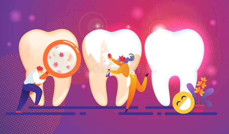 Concepto minúsculo de los caracteres de la gente del cuidado dental dientes ilustración del vector