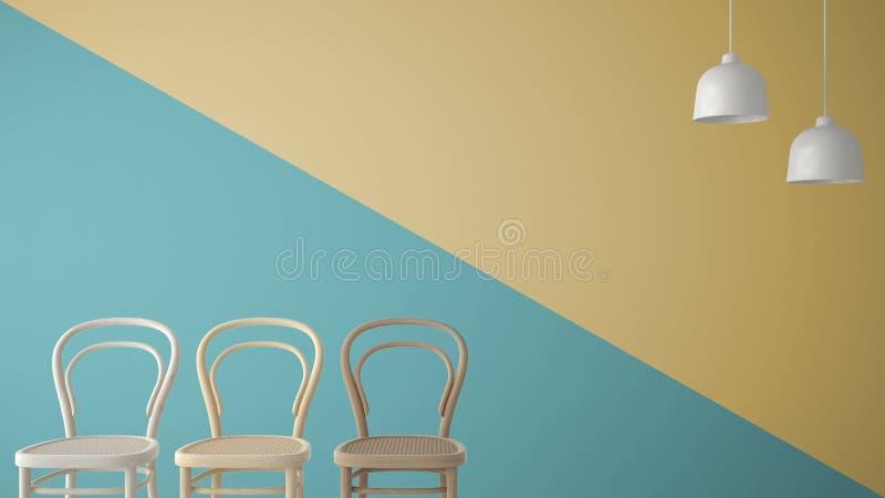 Concepto minimalista del diseñador del arquitecto con tres sillas de madera clásicas y lámparas pendientes en el fondo azul y ama ilustración del vector