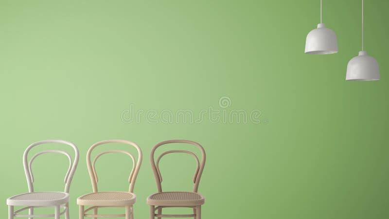 Concepto minimalista del diseñador del arquitecto con tres sillas de madera clásicas y lámparas pendientes en el fondo verde, int stock de ilustración